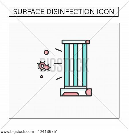 Uv Lamp Color Icon. Antibacterial Light Uvc Sterilizer Linear Pictogram. Concept Of Plant Growing, A