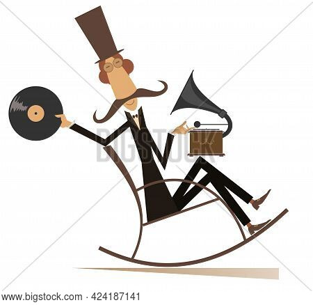 Funny Man In The Top Hat Listens Music On The Vintage Record Player Illustration. Long Mustache Man