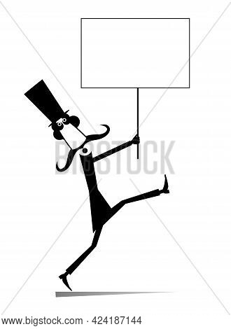 Man In The Top Hat Holds A Placard Illustration. Cartoon Long Mustache Man In The Top Hat Holds A Ba