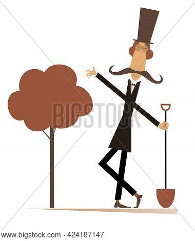 Funny Gardener, Spade And A Tree Isolated Illustration. Cartoon Long Mustache Man In The Top Hat Wit