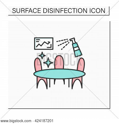 Office Disinfection Color Icon. Workplaces Sanitizing. Surface Disinfection. Safety Space And Preven