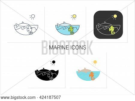 Marine Icons Set. Made Up Of The Saltwater Oceans. Living Place For Shark, Seahorse Etc. Underwater