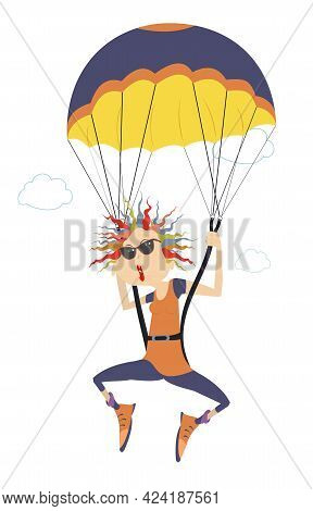 Cartoon Skydiver Woman Illustration.  Comic Skydiver Woman In Sunglasses Derives Enjoyment From Jump