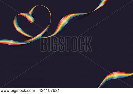 Heart Shape Rainbow Pride Ribbon. Lgbt, Lgbtq Gay Pride Flag Wave. Happy Pride Month. Vector Illustr