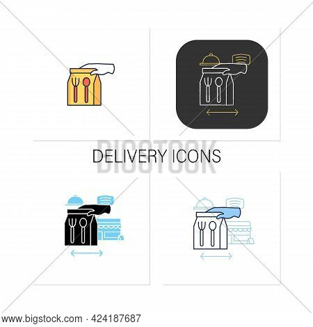 Delivery Icons Set. Take-out From Restaurants.gloved Hand Gives Food. Online Order.restaurants New N