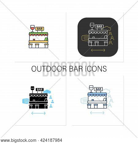 Outdoor Bar Icons Set.outdoor Dining Space. Forced Distance.regulation Through Covid19. Restaurants