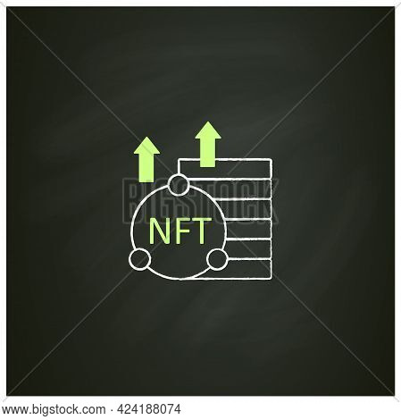 Nft Asset Chalk Icon. Unique Digital Assets. Growth. Cryptocurrency Concept. Isolated Vector Illustr