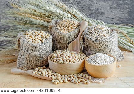 White And Light Brown Cereal And Grain Seeds In Sack And Wooden Bowl, For Carbohydrate Or Clean Food