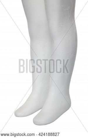 White Female Pantyhose With A Textured Pattern Are Dressed On A White Mannequin. Female Stockings On