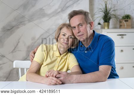 Happy Beautiful Elderly Senior European Couple In Love. Attractive Mature Woman And Handsome Retired