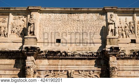 Rome. Part Of Arch Of Constantine Upper Section. Situated Near The Colosseum, Is A Triumphal Arch In