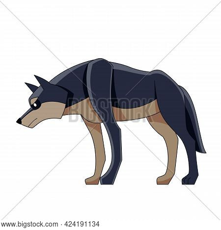 Black Wolf On The Hunt. Canis Lupus. Cartoon Character Of A Dangerous Mammal Animal. A Wild Forest C