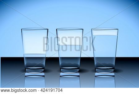 Set Of Realistic Three Pure Water Glasses Or Fresh Water In Glasses Isolated Or Bright Clean Water C