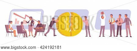 Economic Crisis Flat Composition With Frustrated Bankrupt Men And Women Isolated Vector Illustration