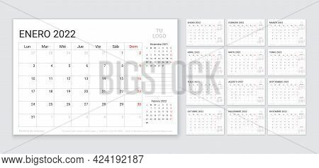 2022 Spanish Calendar. Planner Template. Week Starts Monday. Vector. Calender Layout With 12 Month.