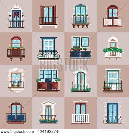 Varied Design Of Glazed Balcony With Railings Flat Vector Illustration
