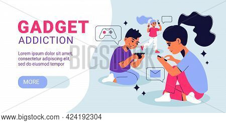 Children Gadget Addiction Horizontal Banner With Kids Networking Messaging Playing Computer Game In