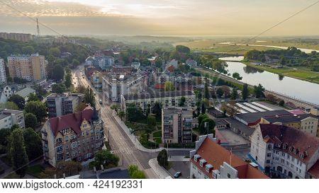 Gorzow Wielkopolski, Poland - June 1, 2021: Sunrise View At Gorzow Wielkopolski From Bird Sight. Cit