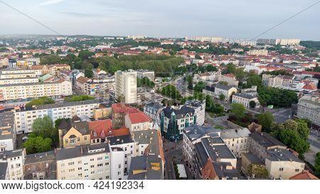 Gorzow Wielkopolski, Poland - June 1, 2021: Aerial View In City Center Of Gorzow Wielkopolski. View