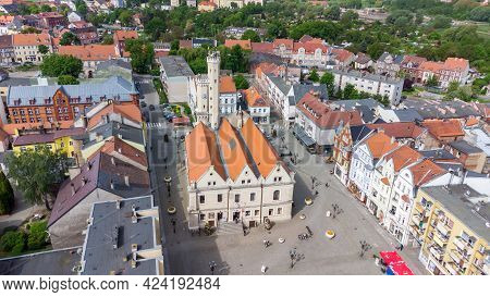 Swiebodzin, Poland - June 1, 2021: Aerial View Of Town Hall In Swiebodzin, Currently The Regional Mu