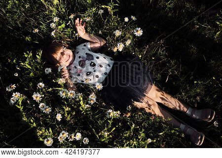 Happy Childhood In Nature Among Flowers. Chamomile Field And Child At Sunset. Little Girl In Dress L