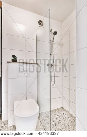 Interior Of Small Clean Washroom In Miniature Style