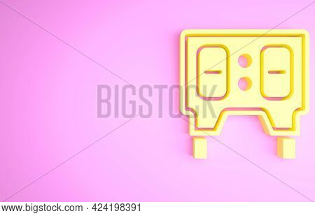 Yellow Sport Baseball Mechanical Scoreboard And Result Display Icon Isolated On Pink Background. Min