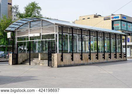 Bucharest, Romania - 1 May 2021: Main Entry To Titan Metro Station