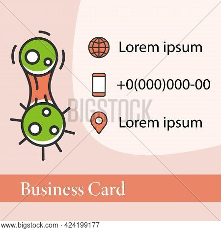 Covid Mutation Square Business Card. Virus Evolution Marketing Template. Concept Of Infection Diseas