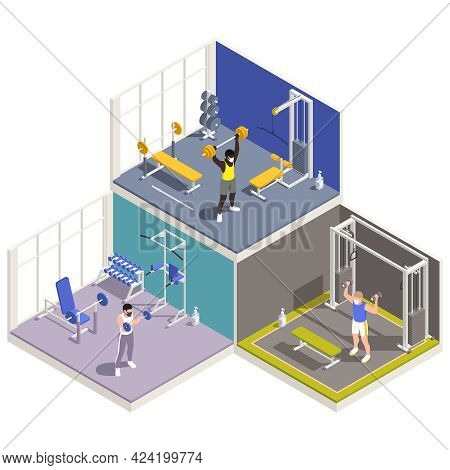 Two Story Gym Fitness Center Interior Isometric View With Training Equipment Exercising People Lifti