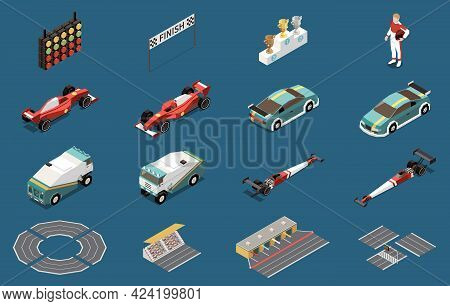 Car Race Isometric Set Of Isolated Car Icons With Track Elements Awards Traffic Light And Driver Vec