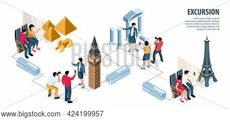 Excursion Isometric Infographics With Guide Tourists And World Famous Landmarks Vector Illustration
