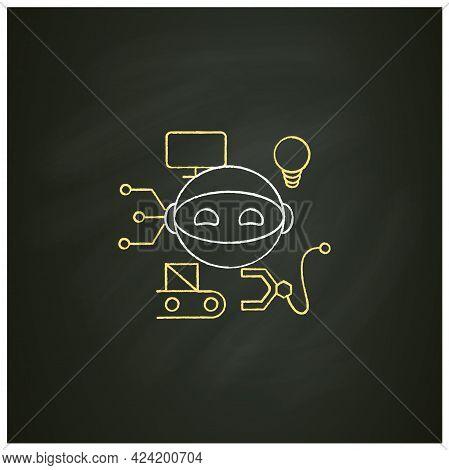 Robot Chalk Icon. Smart Production Robot. Robotizing. Modern Technologies. Future. Available Service