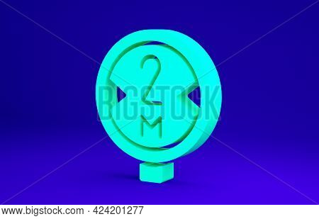 Green Road Traffic Sign. Signpost Icon Isolated On Blue Background. Pointer Symbol. Isolated Street