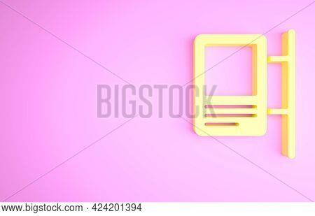 Yellow Road Traffic Sign. Signpost Icon Isolated On Pink Background. Pointer Symbol. Isolated Street