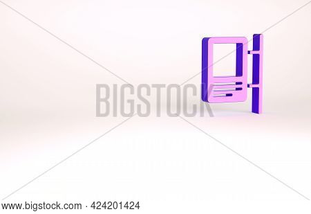 Purple Road Traffic Sign. Signpost Icon Isolated On White Background. Pointer Symbol. Isolated Stree