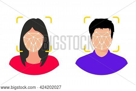 Male And Woman With Face Id Scanner. People With Face Scanning Process. Biometric Verification, New