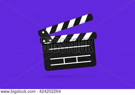 Black Clapper Board Icon With Button Player In Flat Style. Clapperboard Vector Illustration. Movie F