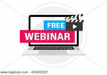 Live Webinar Button, In Laptop. Webinar, Seminar, Online Distant Education, Video Lecture, Conferenc