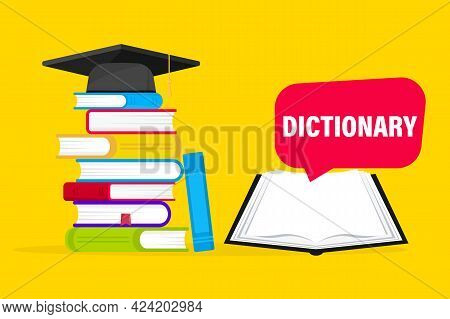 Open Book With An Upside Down Pages And Pile Of Books. Dictionary Of English Language Icon. Translat