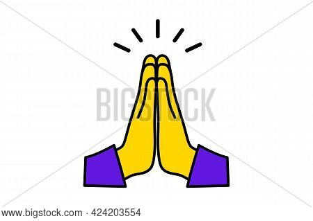 Human Hands Folded In Prayer. Clasped Hands. Mudra Namaste. Hands Folded In A Welcome Gesture. Conce