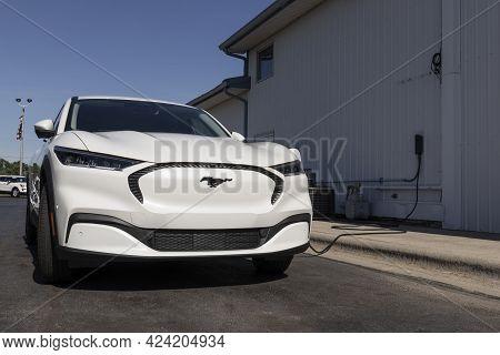 Silver Lake - Circa June 2021: Ford Mustang Mach-e Suv Display At A Charging Station. The Mustang Ma