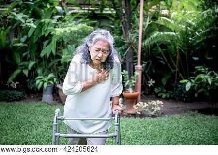 Asian Elderly Woman, Are Suffering From Angina Due To Heart Disease, As She Walk With Walker On The