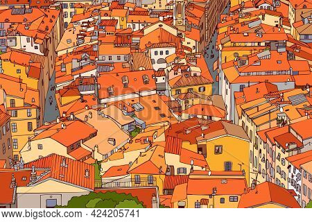 Red Tiled Roofs Of Old Nice. France. Old Town, Street, House, Roof, Road, Lane. Urban Landscape. Top