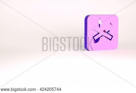 Purple Speaker Mute Icon Isolated On White Background. No Sound Icon. Volume Off Symbol. Minimalism