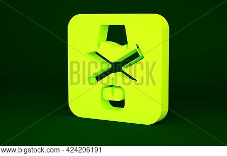 Yellow No Alcohol Icon Isolated On Green Background. Prohibiting Alcohol Beverages. Forbidden Symbol