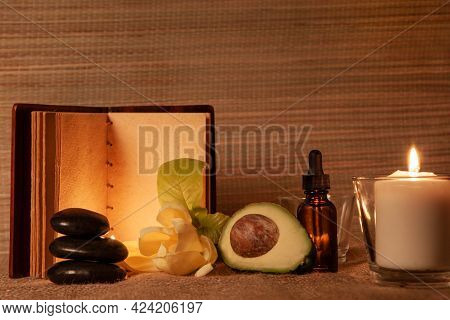 Spa Body Treatment And Beauty Wellness. Therapy Aromatherapy For Body Women With Candles For Relax S