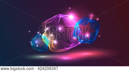 Festive Geometric Background With Dynamic Star-shaped Shapes. Glow, Glare And Bokeh Effect.