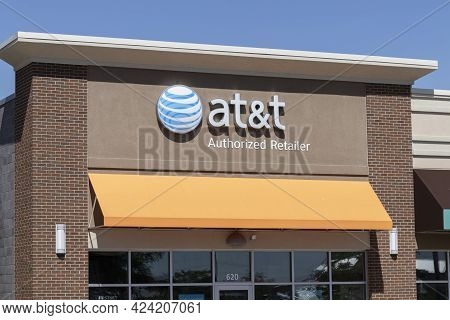 Warsaw - Circa June 2021: At&t Cell Phone Retail Store. At&t Is Spinning Off Its Media Assets To Con
