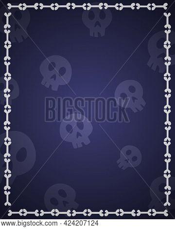 Halloween Background For Design With Skulls And Bones